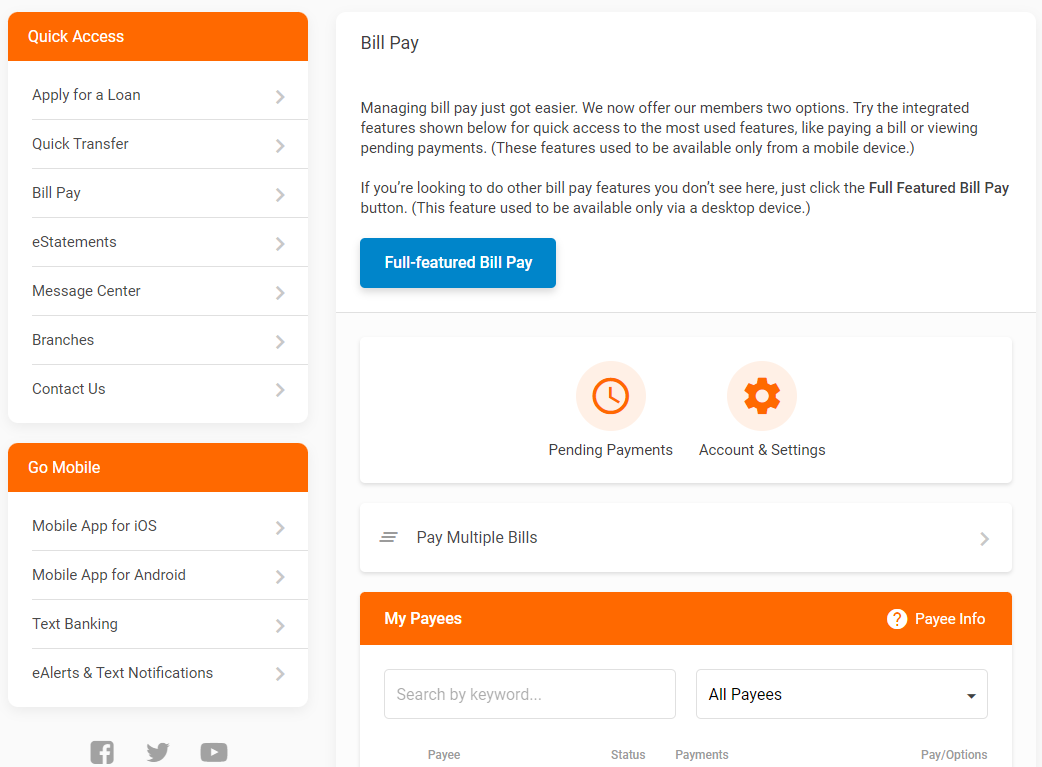 screen capture of online banking bill pay interface