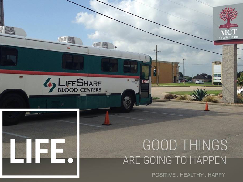 MCT proudly supports giving life by donating blood for the community blood drive.  Throughout the year, you will see the LifeShare truck at our locations to make it easy and convenient for our members to give.