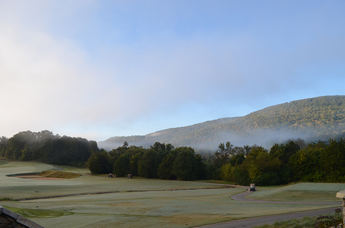 The fog rises from Black Creek Mountain the morning of the charity tournament.