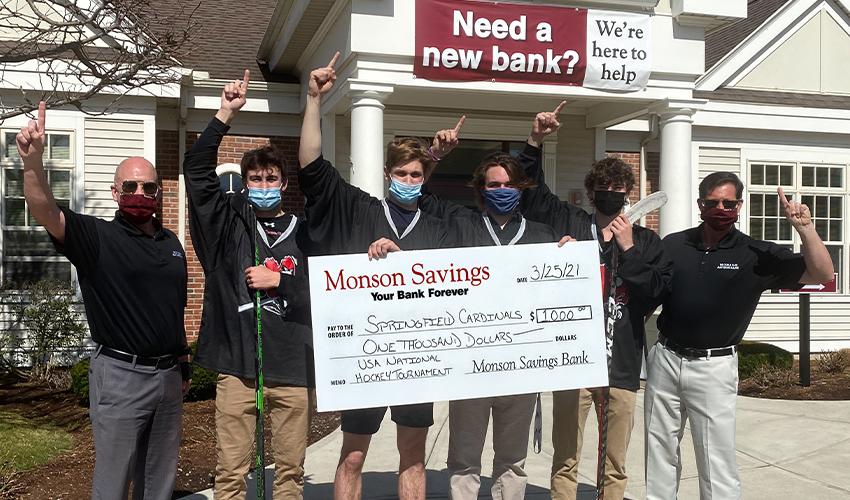 Monson Savings Bank Donates $1,000 to Support Springfield Cardinals at USA High School National Hockey Tournament