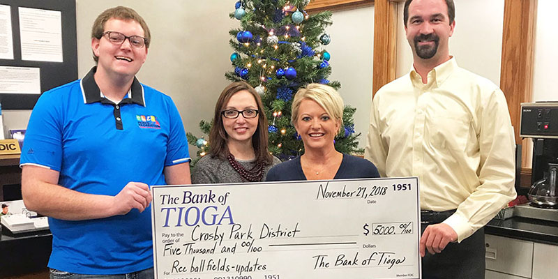 The Bank of Tioga Donates to Crosby Park District