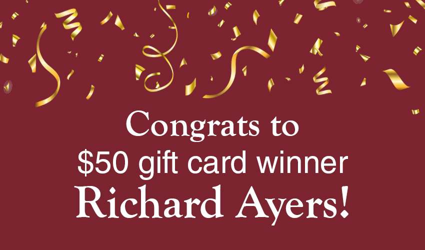 Monson Savings Bank Announces Richard Ayers as the $50 Gift Card Winner to A.W. Brown's Pet and Garden Store