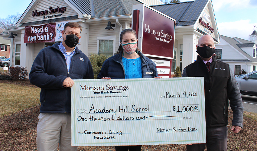 Monson Savings Bank Supports Academy Hill School with $1,000 Donation