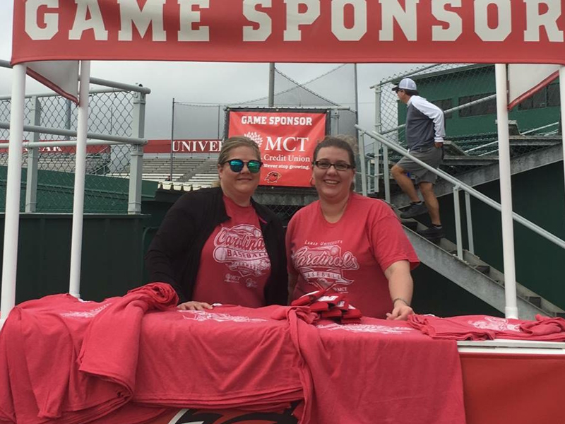 Heather and Teresha, opening weekend at LU Baseball, passing out game shirts.  We proudly support our Lamar Baseball team!