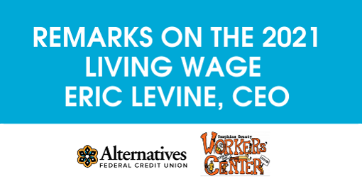 AFCU CEO Eric Levine's Remarks on the 2021 Living Wage at Biennial News Conference Held on Thurs. July 1, 2021