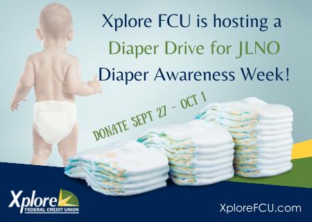 Xplore FCU Hosting Diaper Drive for JLNO Diaper Bank