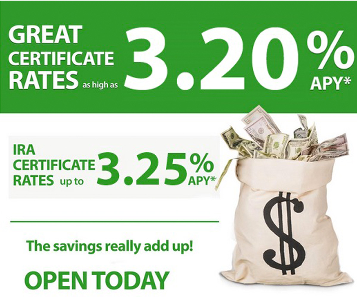 Great certificate rates as high as 3.20% APY