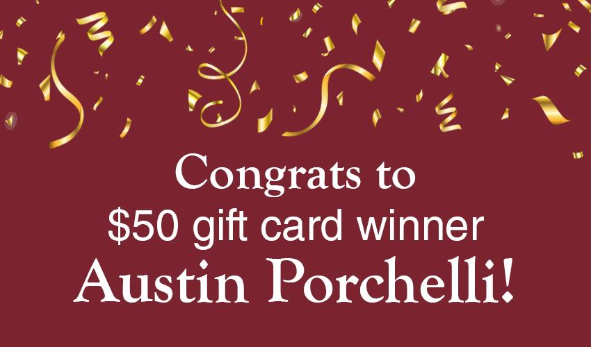 Monson Savings Bank Announces Austin Porchelli as the $50 Gift Card Winner to Maureen's Sweet Shoppe