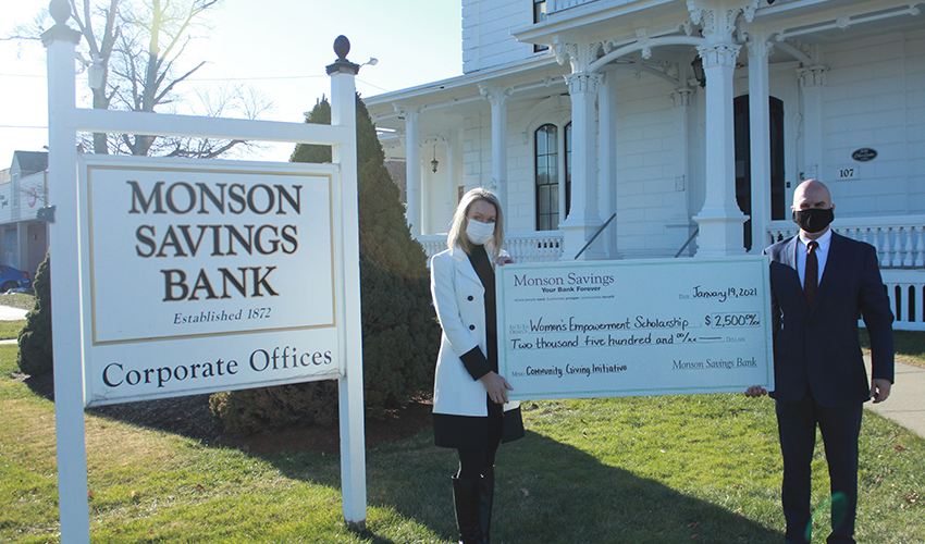 Monson Savings Bank presents a $2,500 Donation to The Women's Empowerment Scholarship