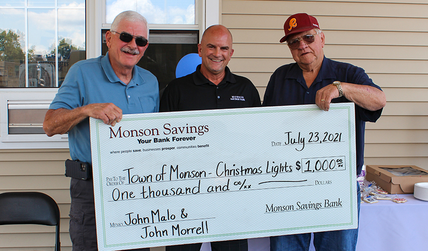 MSB Donates $1,000 to Monson's Christmas Lights, Honoring John Malo & John Morrell