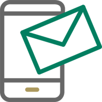 Image of mobile phone with envelope