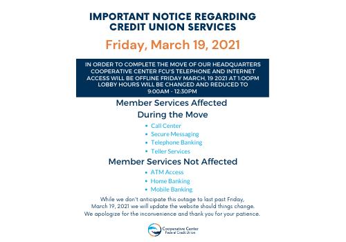 Important Notice Regarding Credit Union Services
