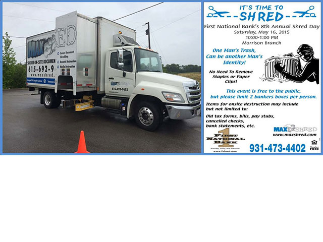 First National Bank's 8th Annual Shred Day