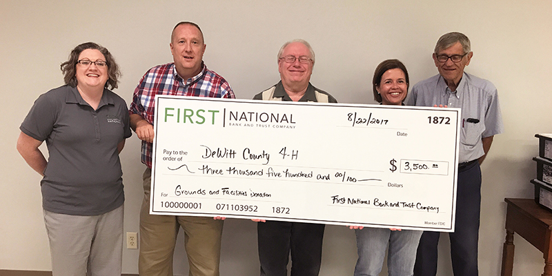 First National Bank and Trust Donates $3,500 to the DeWitt County 4-H Foundation