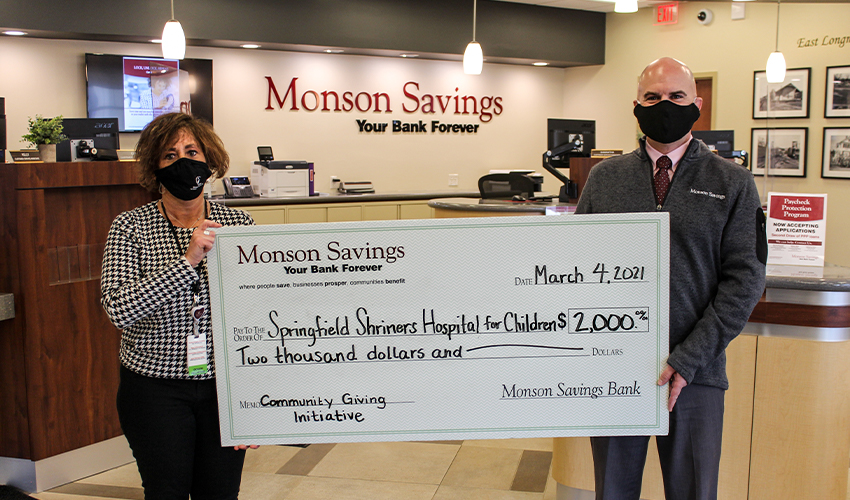 Monson Savings Bank Donates $2,000 to the Springfield Shriners Hospital for Children