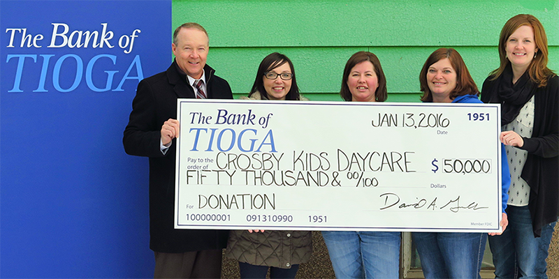 The Bank of Tioga Donates $50,000 to Crosby Kids Daycare