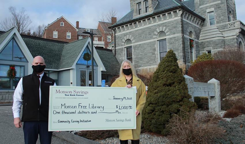 Monson Savings Bank Donates $1,000 to the Monson Free Library