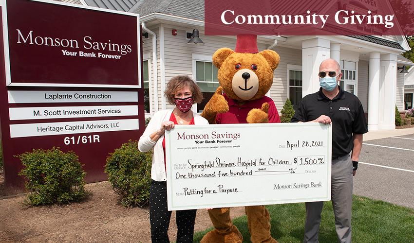 Monson Savings Bank Donates $1,500 to the Shriner's Putting for a Purpose Mini Golf Tournament