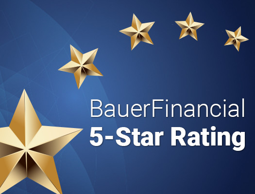 Image of 54 Consecutive Quarters - Rated 5-Stars by BauerFinancial