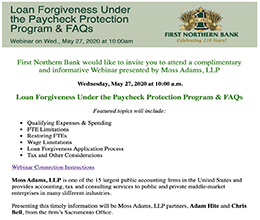 Loan Forgiveness Under the Paycheck Protection Program Webinar presented by Moss Adams, LLP