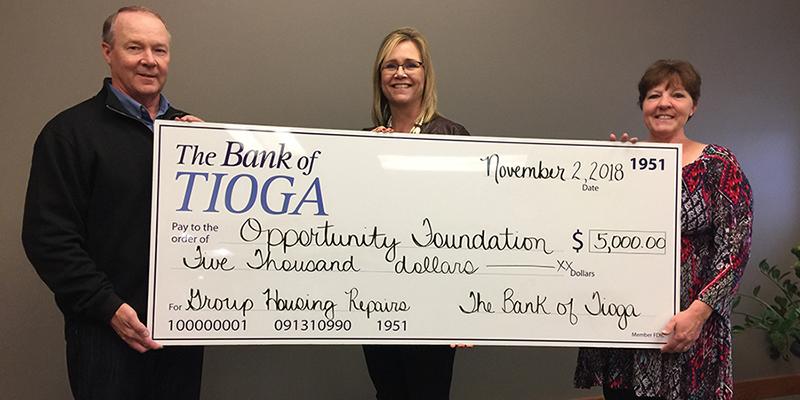 The Bank of Tioga Donates to Tioga Group Home