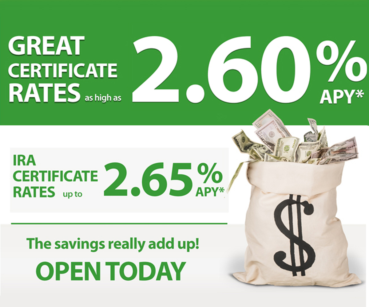 Great certificate rates as high as 2.60% APY
