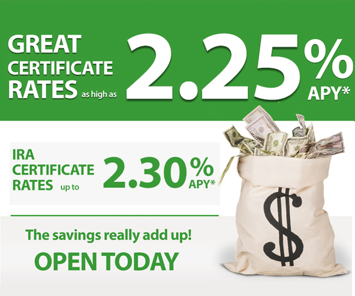 Great certificate rates as high as 2.25% APY