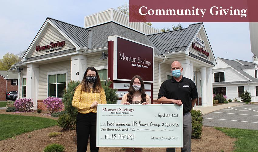 Monson Savings Bank Provides $1,000 Donation for East Longmeadow High School Prom